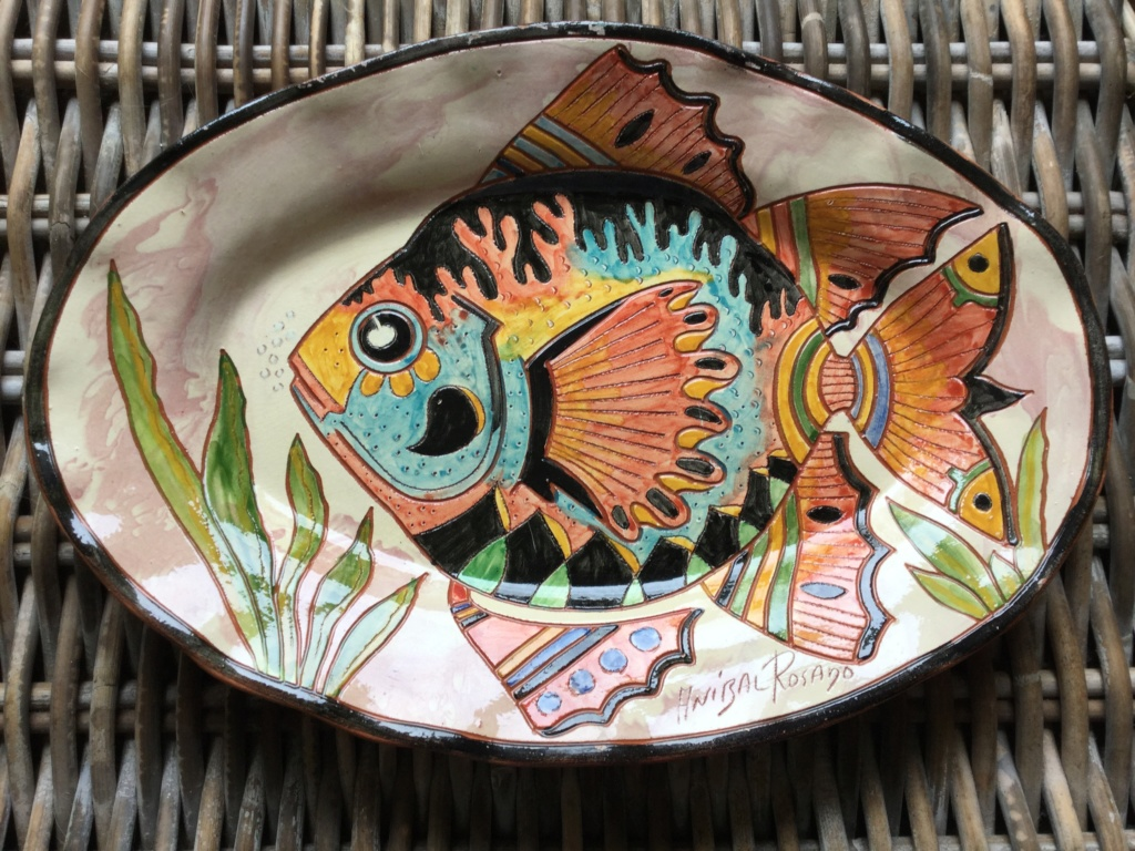 Anibal Rosado signed majolica fish plate from portugal Image15