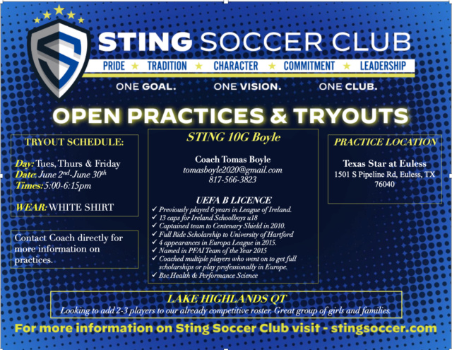 STING 10G BOYLE (F:Evolution 10G) OPEN TRYOUTS IN EULESS Screen14