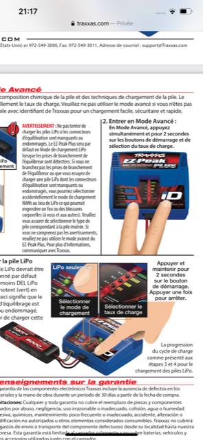 Compatibilité Chargeur / Batterie LIPO Vxl1110