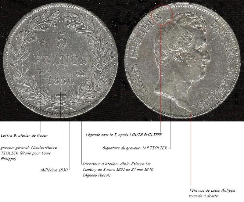 Tirage du 5 francs 1830 B sans le I F5lp_s11