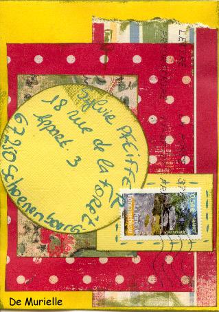 Swap mail art à partir d'un sketch Muriel12