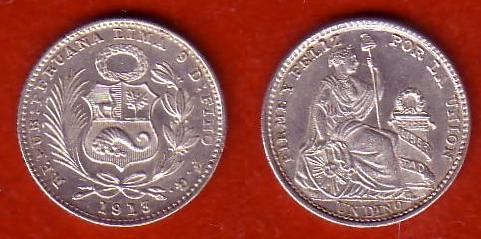 Perú, 1 dinero, 1913 Gf10