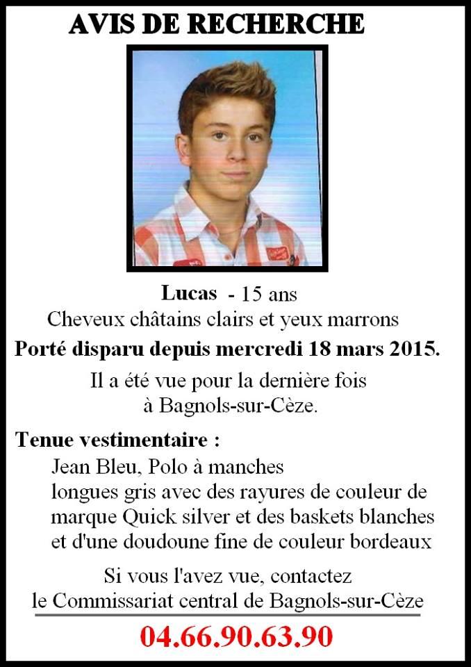 Gard : disparition inquiétante d'un adolescent de 16 ans à Bagnols-sur-Cèze Recerc10