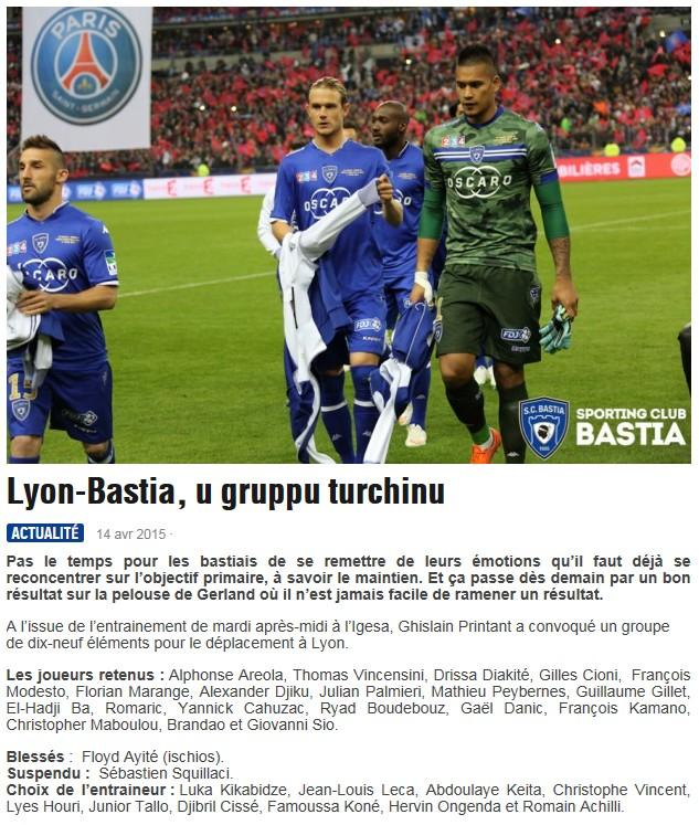 J32 / Jeu des pronos - Prono Lyon-Bastia S10