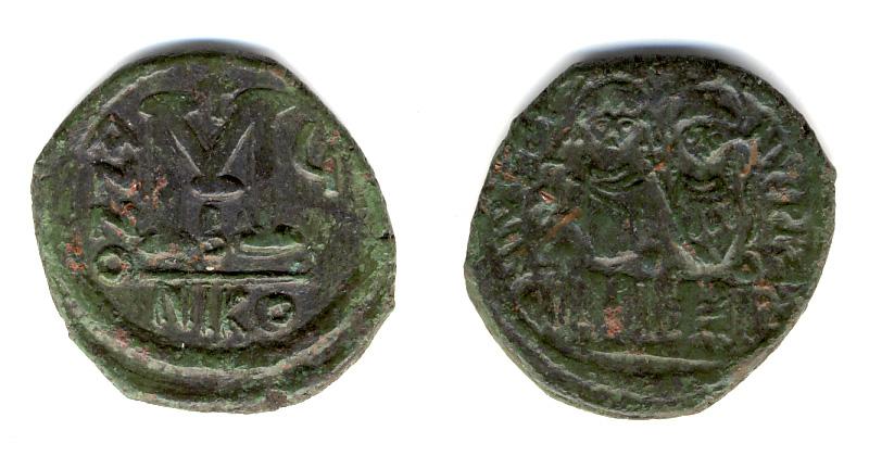 40 nummi de Justino II.  Bizant11
