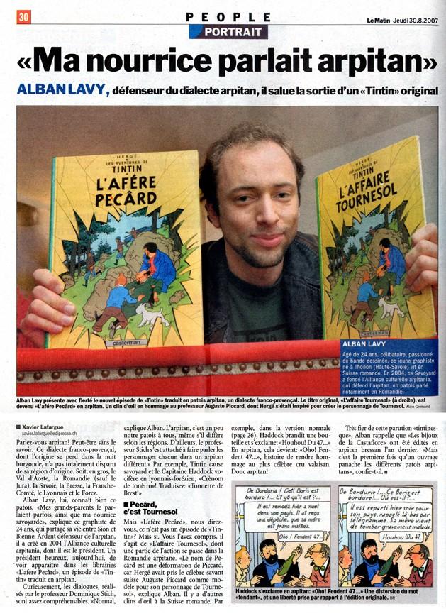 La peopolisation de l'arpitanisme [Le Matin] Tintin10