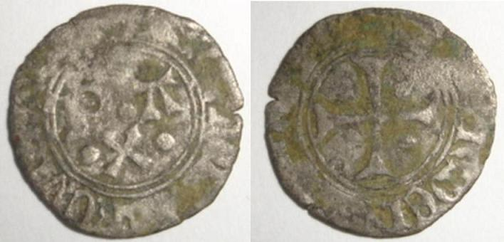 Denier de Catherine (1483-1484) pour les centulles (Béarn) Vellon10