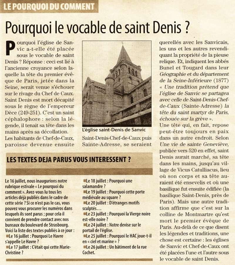 Pourquoi le vocable de St-Denis pour l'église de Sanvic ? 2012-012