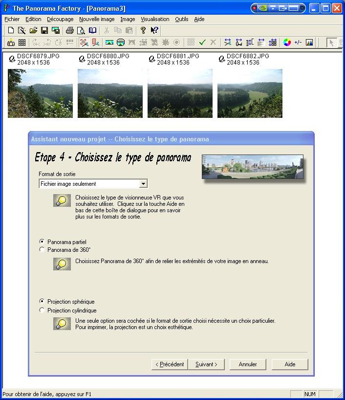 Créer un panorama avec Panorama Factory Etape410