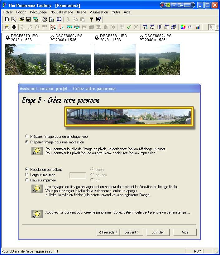 Créer un panorama avec Panorama Factory Etape510