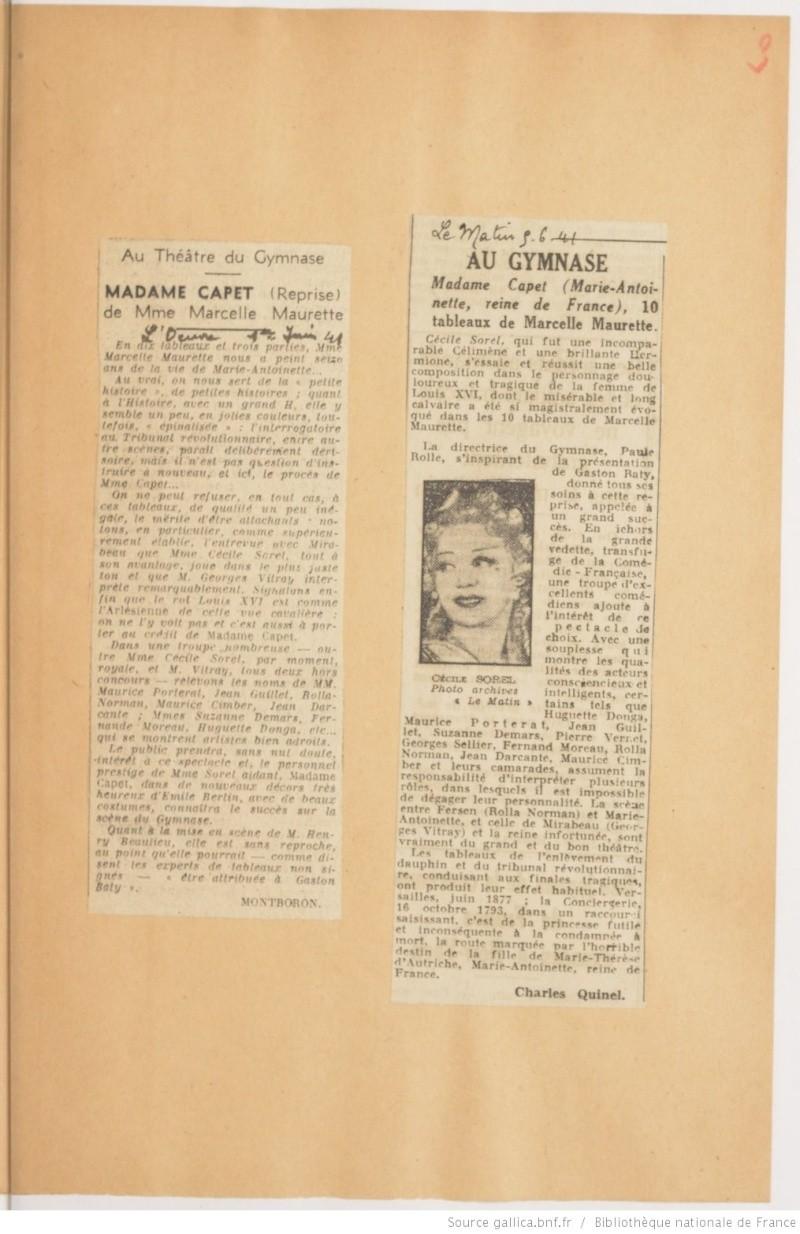 Madame Capet ou Cécile Sorel dans le métro en 1944 Ma_sor11
