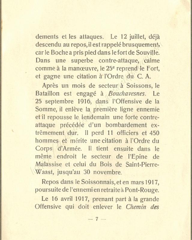 Historique réduit (14 - 18) du 25° BCP 0710