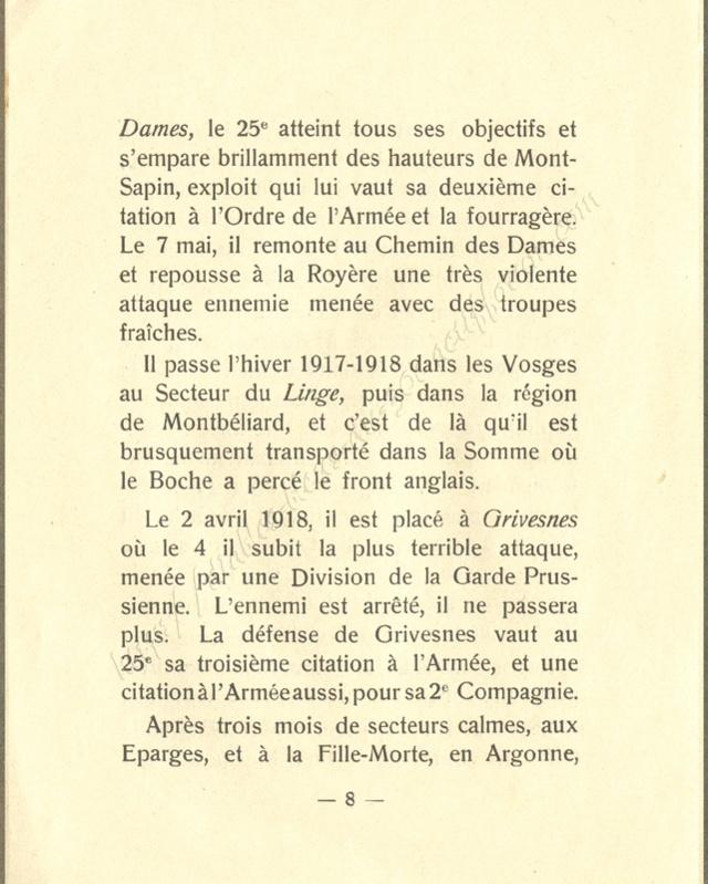 Historique réduit (14 - 18) du 25° BCP 0810