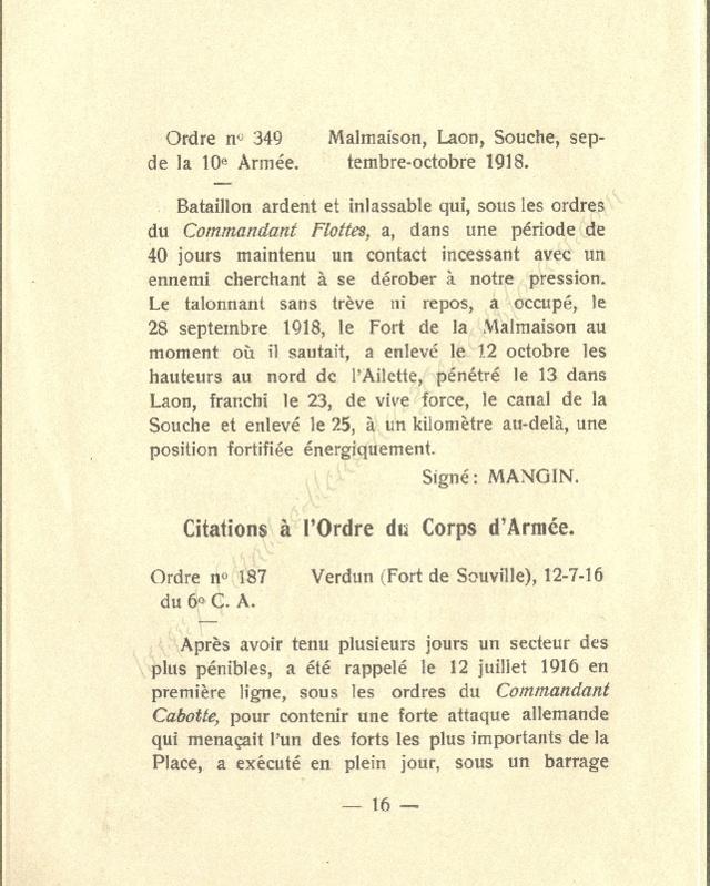 Historique réduit (14 - 18) du 25° BCP 1610