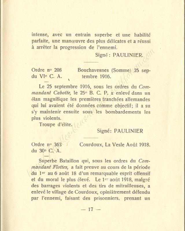 Historique réduit (14 - 18) du 25° BCP 1710