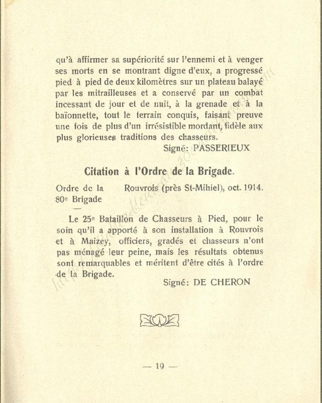 Historique réduit (14 - 18) du 25° BCP 1910