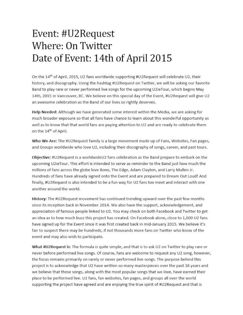14 Aprile 2015 - Un'iniziativa senza precedenti: #U2Request  110