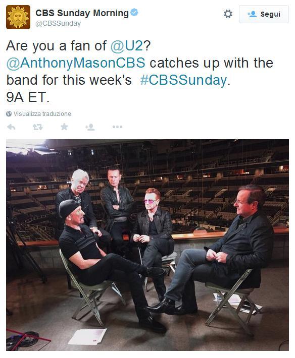Intervista agli U2 questa domenica sulla CBS Cbs10