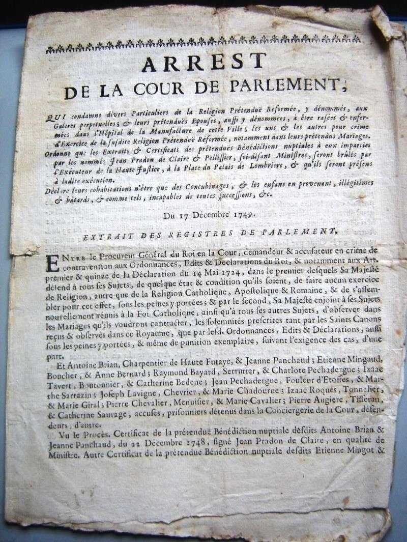 Arrêt de la Cour du Parlement de Bordeaux 1749 1749-110