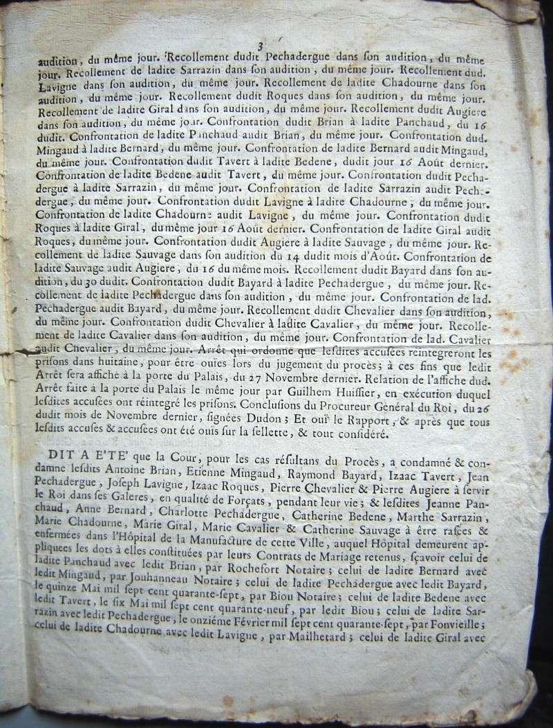 Arrêt de la Cour du Parlement de Bordeaux 1749 1749-112