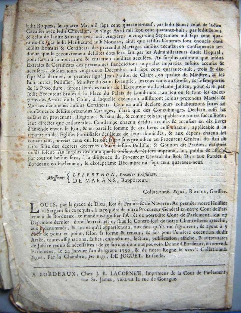 Arrêt de la Cour du Parlement de Bordeaux 1749 1749-113