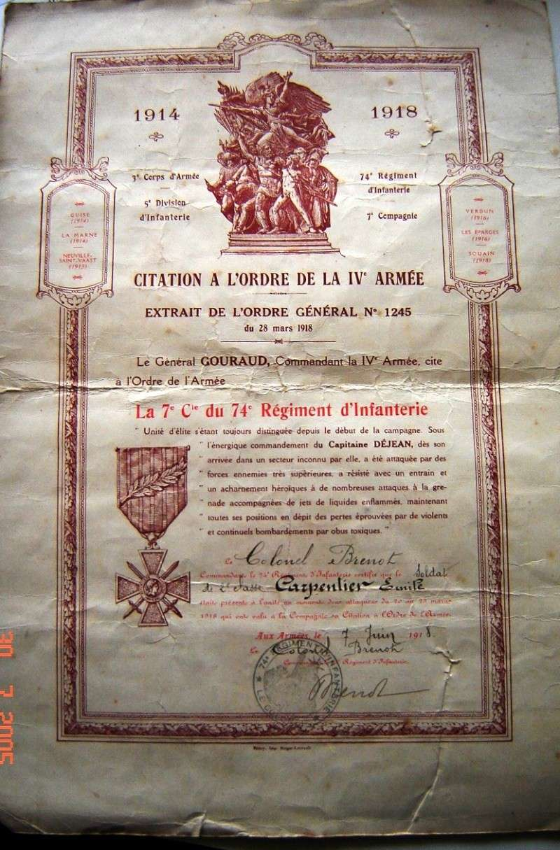 Citation à l'ordre de la IVe Armée 14-18 Citati10