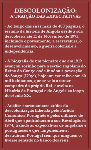 """Livro: """"Angola - Colonização, Descolonização"""" - autor: Fernando Paula Vicente, MGenPilAv (ref) Angola15"""
