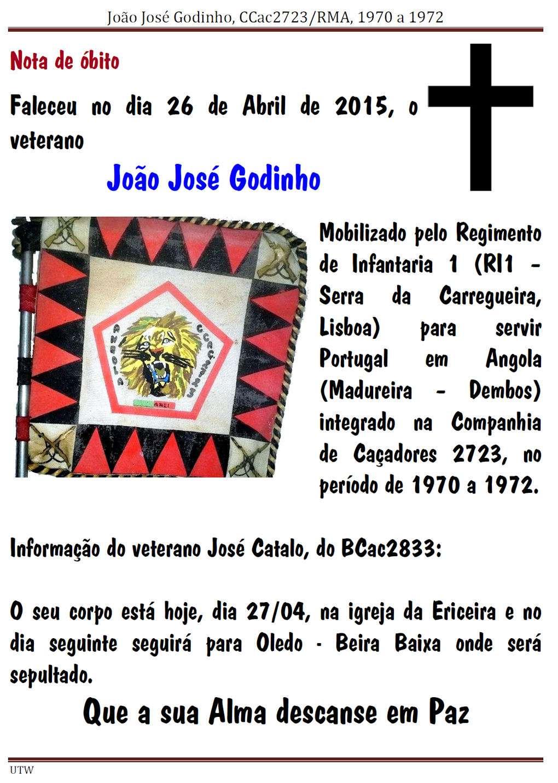 Faleceu o veterano José João José Godinho, da CCac2723 - 26Abr2015 Joaojo10