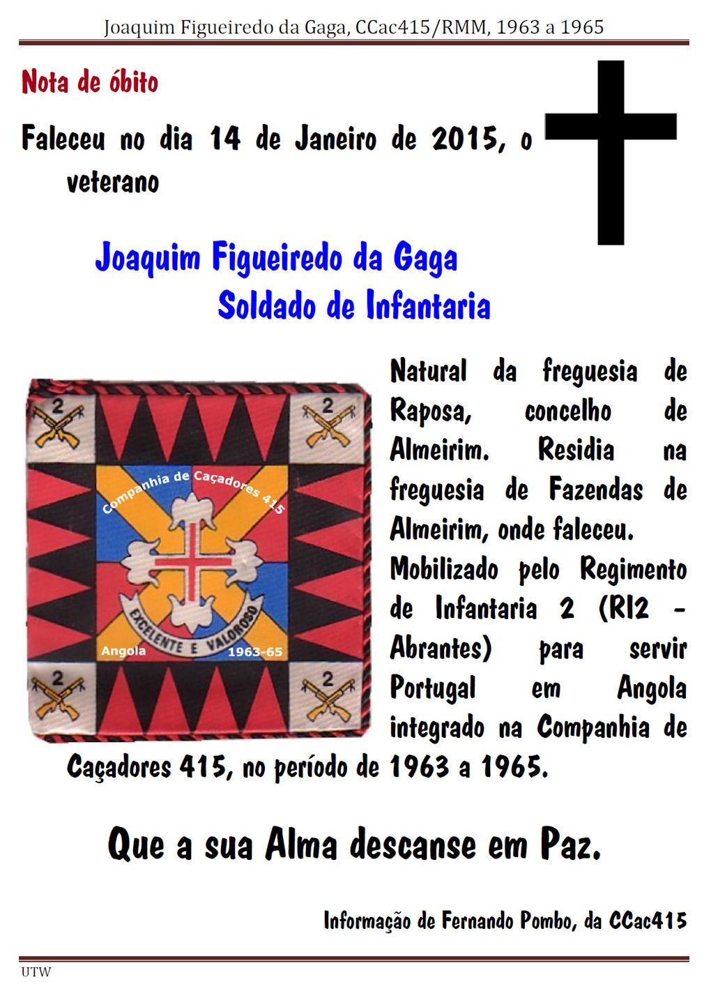 Faleceu o veterano Joaquim Figueiredo da Gaga, da CCac415/RMA - 14Jan2015 Joaqui11