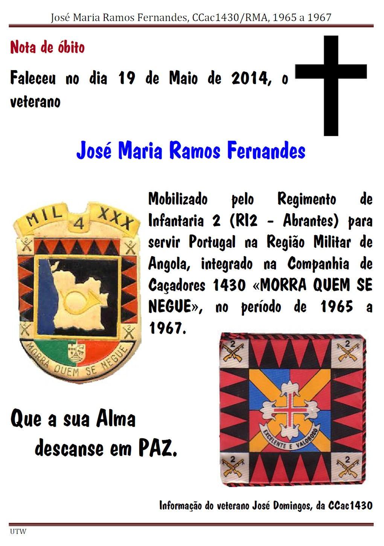 Faleceu o veterano José Maria Ramos Fernandes, da CCac1430, no dia 19Mai2014 Josema13