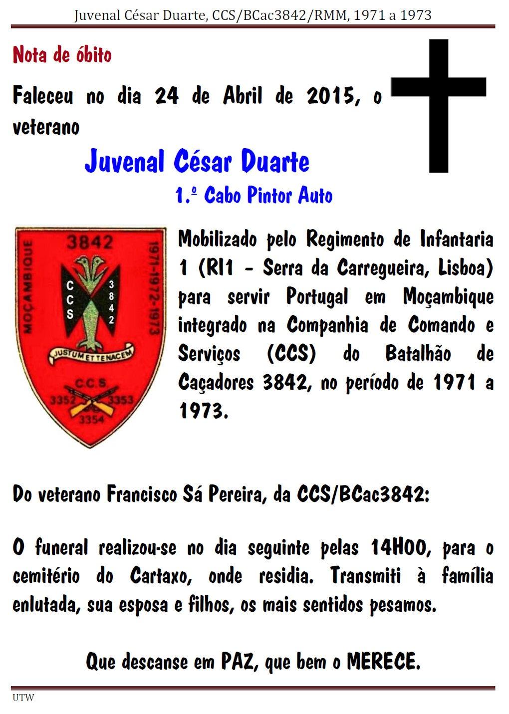Faleceu o veterano Juvenal César Duarte, 1.º Cabo Pintor Auto, da CCS/BCac3842 - 24Abr2015 Juvena10
