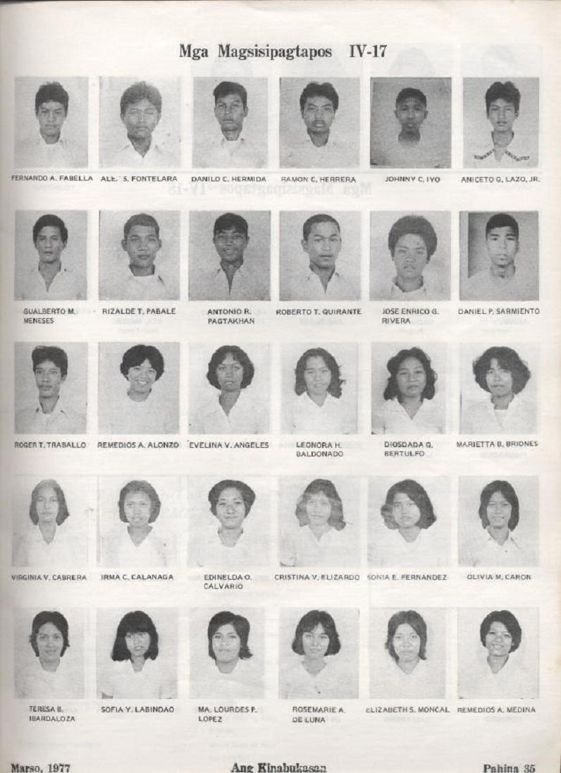 """ANG KINABUKASAN"" – ARAULLO HIGH SCHOOL BATCH 1977 YEARBOOK Ang_ki37"