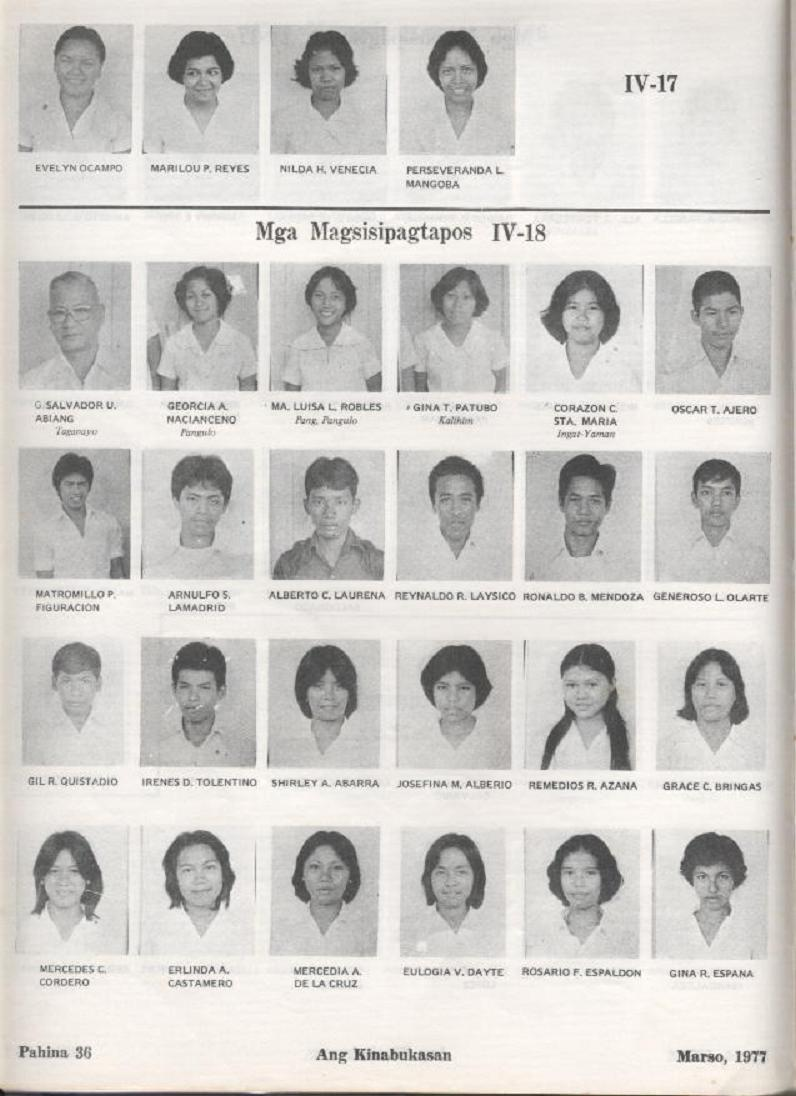 """ANG KINABUKASAN"" – ARAULLO HIGH SCHOOL BATCH 1977 YEARBOOK Ang_ki38"