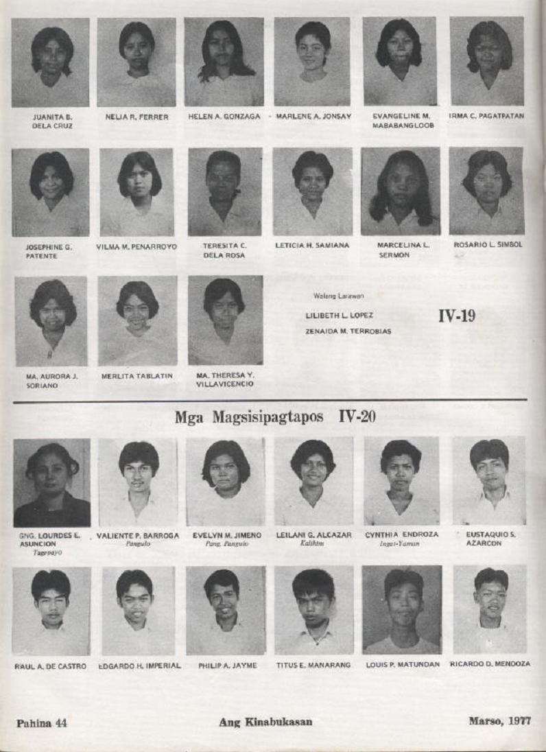 """ANG KINABUKASAN"" – ARAULLO HIGH SCHOOL BATCH 1977 YEARBOOK Ang_ki42"