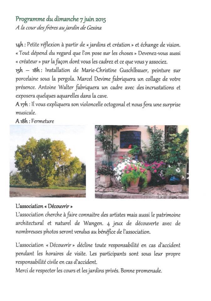 Rendez-vous aux jardins à Wangen les 6 et 7 juin 2015 avec l'association Découvrir. 11012010