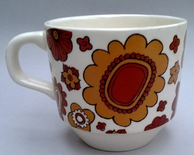 Abstract retro flowers - brown on white - Kelston Ceramics ~ Orange10