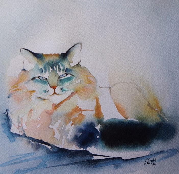 Le portrait de votre chat à l'aquarelle...Au profit de l'Ecole du chat de Quiberon - Page 18 Mitoun10