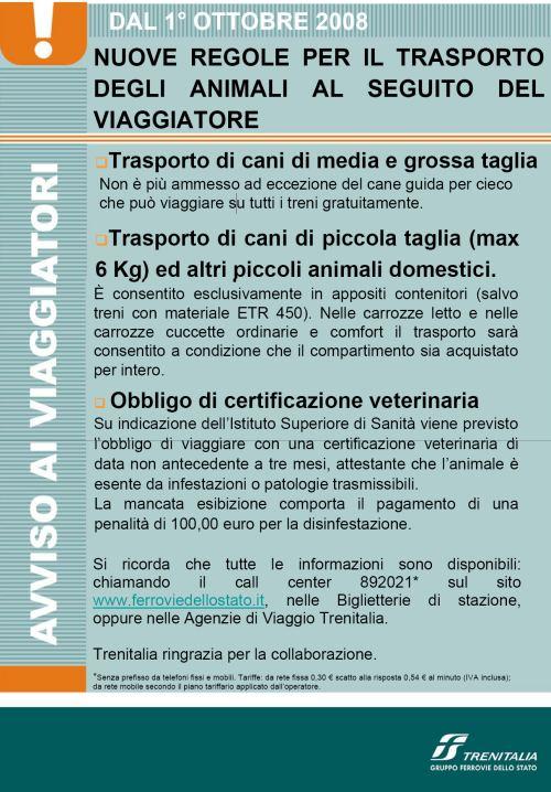 No cani sui treni dal 1 Ottobre!! TRENITALIA: vergognati!!!! Trenit10