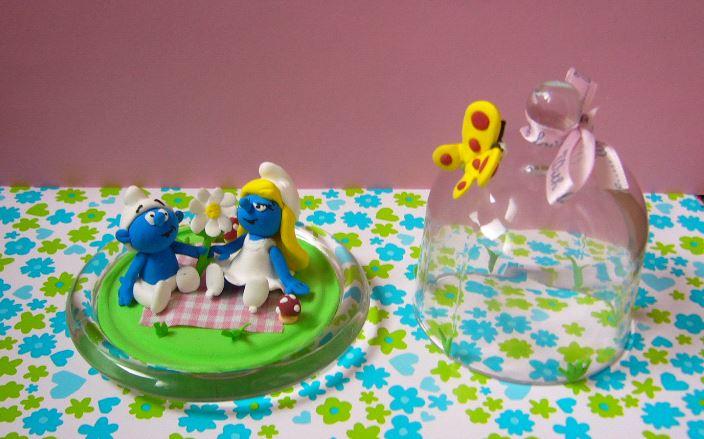 Petits schtroumpfs en pate polymère ( fimo , patarev, pate à modeler ....) - Page 2 Cloche11