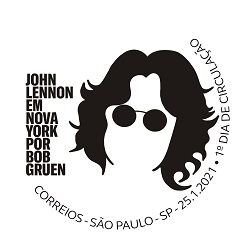 John Lennon em NY por Bob Gruen Carimb42