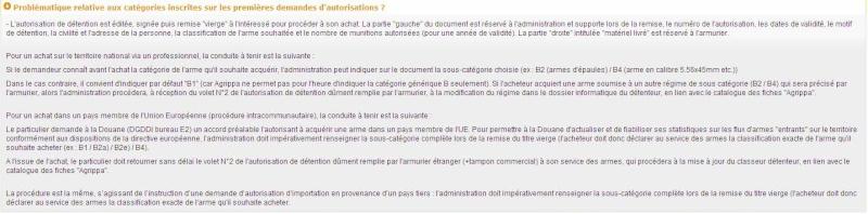 Demande d'autorisation cat B avec Munition C que mettre dans le CERFA Gestio10