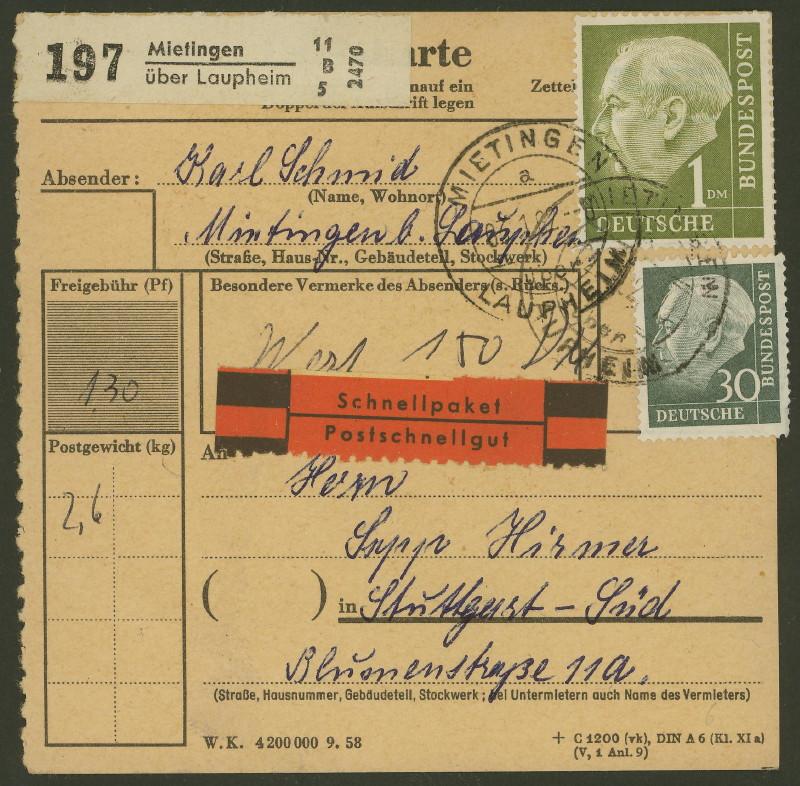 Deutschland  -  Landpoststempel (Poststellenstempel) Mietin10