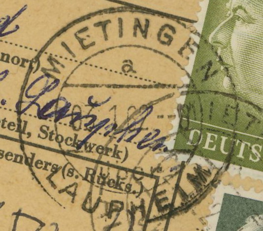 1945 - Deutschland  -  Landpoststempel (Poststellenstempel) Mietin11