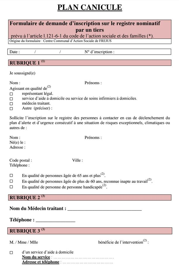 S'inscrire sur la liste de veille en cas d'alerte Canicule Canicu10