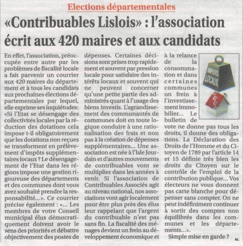 L'association des contribuables lislois écrit à 420 maires gersois Lettre11