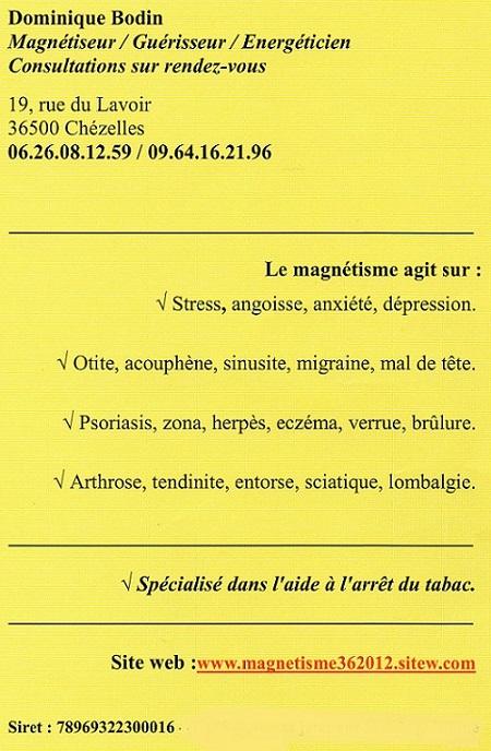 CHEZELLES - Dominique BODIN - Magnétiseur, radiesthésiste. 2015_b10