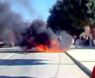 احتراق سيارة خفيفة بمدينة الريصاني كانت تقل أجانب ,فيديو. N_bmp10