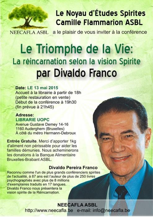 """Conférence """"Le Triomphe de la Vie: La réincarnation selon la vision Spirite"""" de Divaldo Franco le 13 Mai 2015.  11168410"""