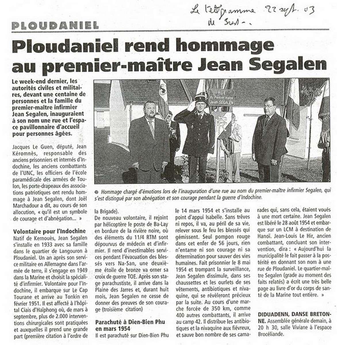 [ Histoires et histoire ] Rue du Premier Maître Jean SEGALEN 1029