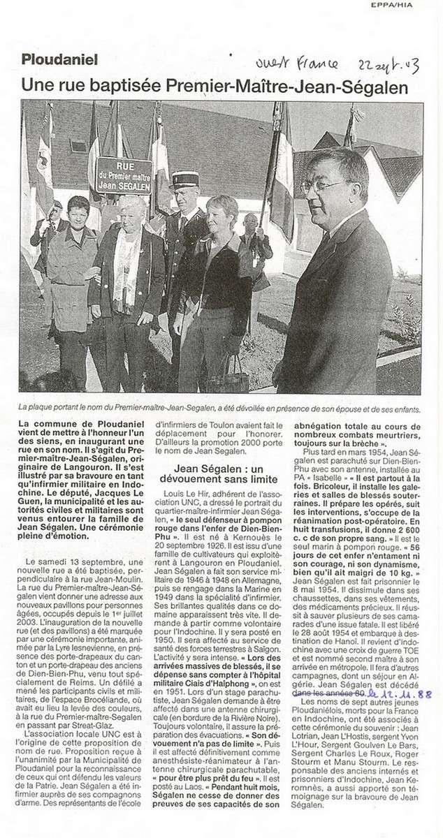 [ Histoires et histoire ] Rue du Premier Maître Jean SEGALEN 932